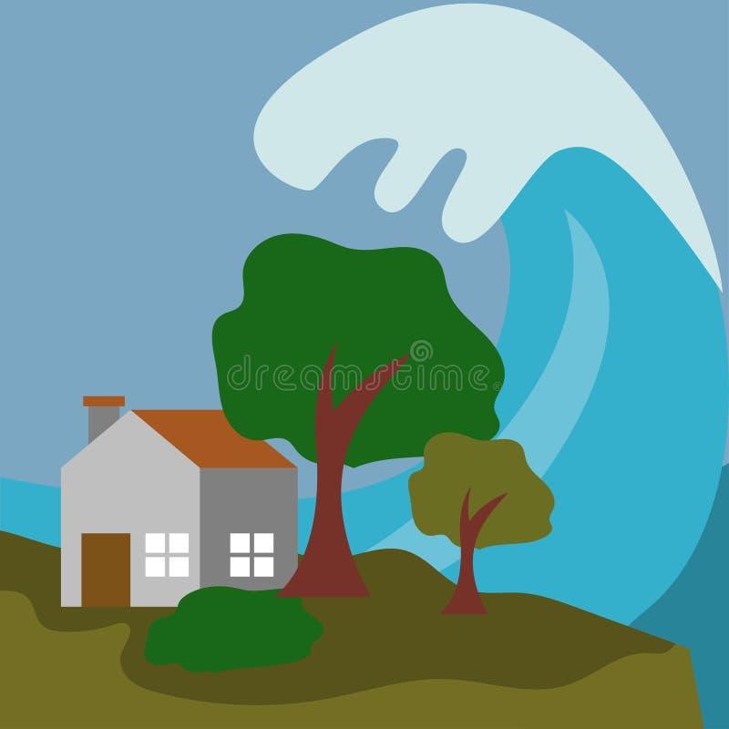 Natuurrampenillustratie Vectorart logo template stock illustratie