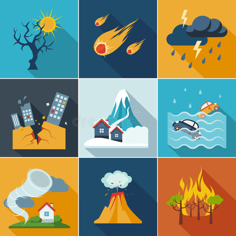 Natuurrampenpictogrammen stock illustratie