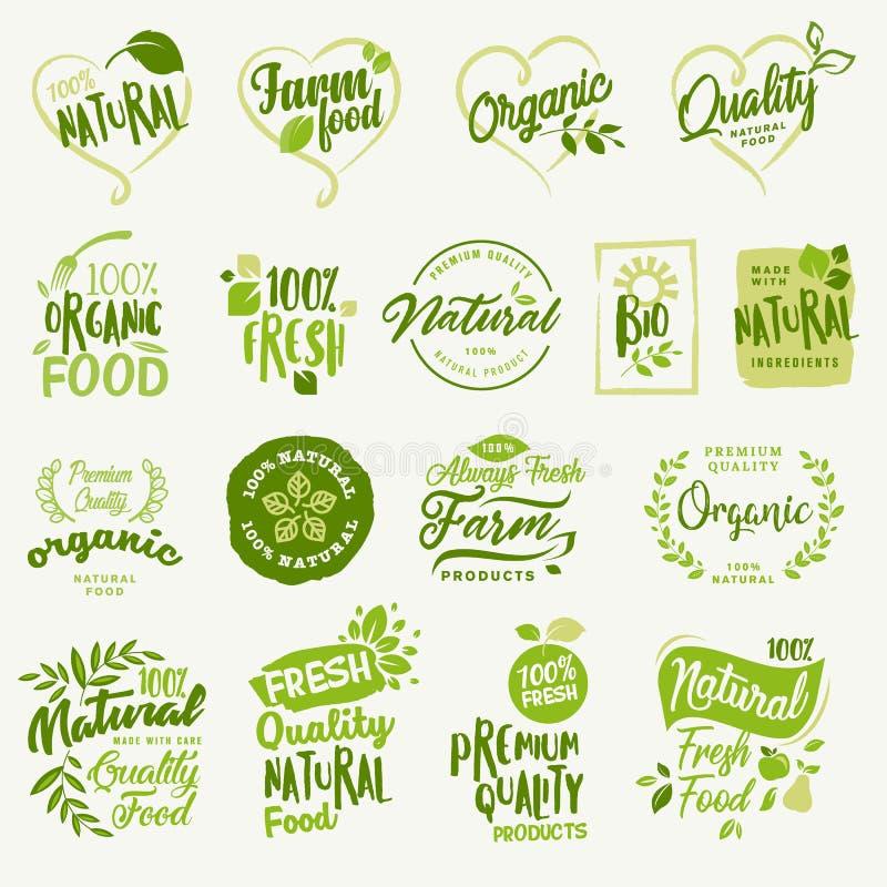 Natuurvoeding, vers en natuurlijk landbouwproduct stickers en etiketteninzameling stock illustratie
