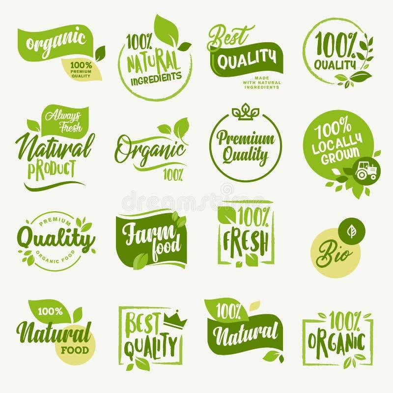 Natuurvoeding, vers en natuurlijk landbouwproduct stickers en kentekensinzameling vector illustratie