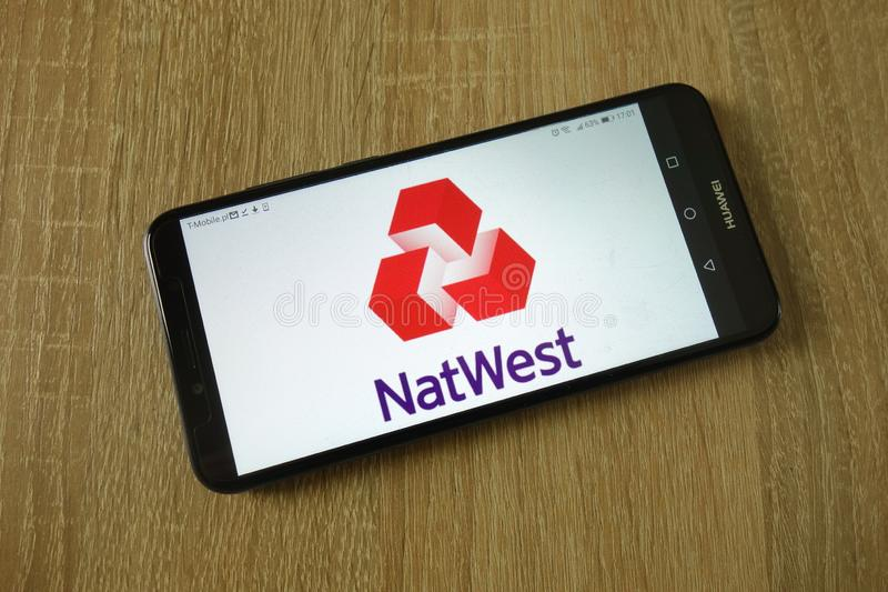 NatWest logo displayed on smartphone royalty free stock photography