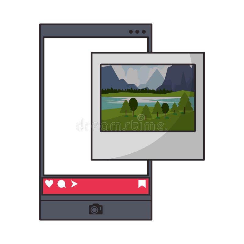 Natychmiastowa fotografia od smartphone sieci og?lnospo?ecznego app ilustracja wektor