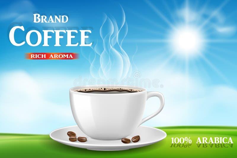 Natychmiastowej kawy reklama z filiżanką na pogodnego ranku i zielonej trawy tle, produkt czarnej kawy projekt z bokeh royalty ilustracja