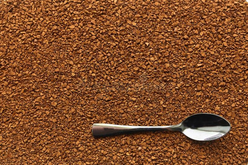Natychmiastowej kawy tekstura, stalowa łyżka, aromatyczny napój obrazy stock