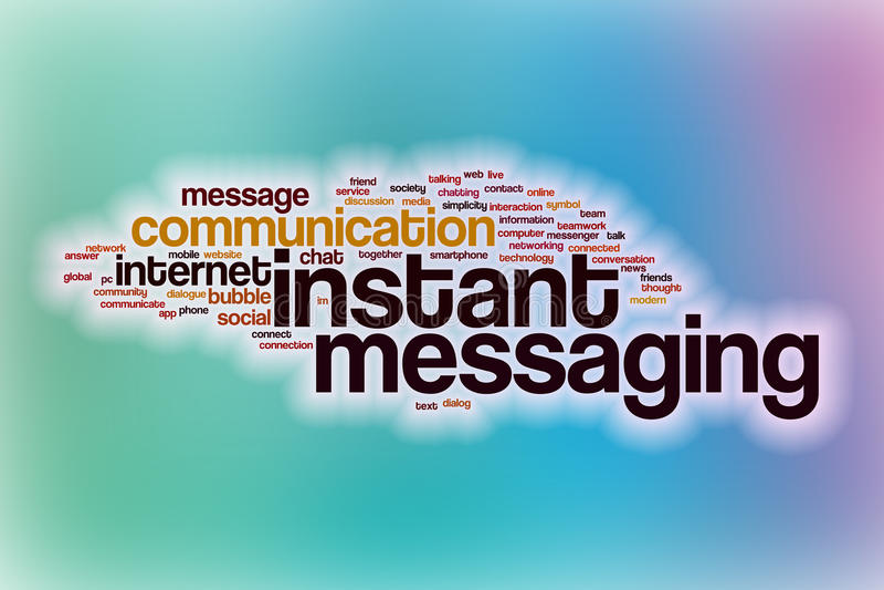 Natychmiastowej przesyłanie wiadomości słowa chmura z abstrakcjonistycznym tłem royalty ilustracja