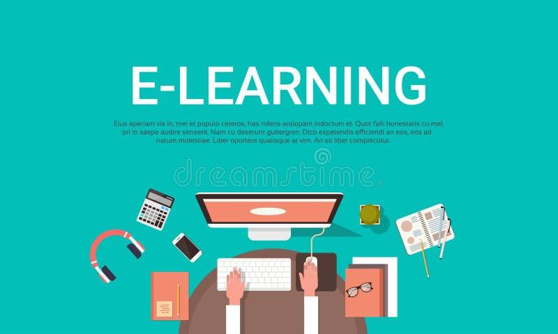 Nauczanie online edukacja Online, Uniwersytecki sztandar Z Studenckim komputeru stacjonarnego Odgórnego widoku tłem Z kopii przes ilustracji