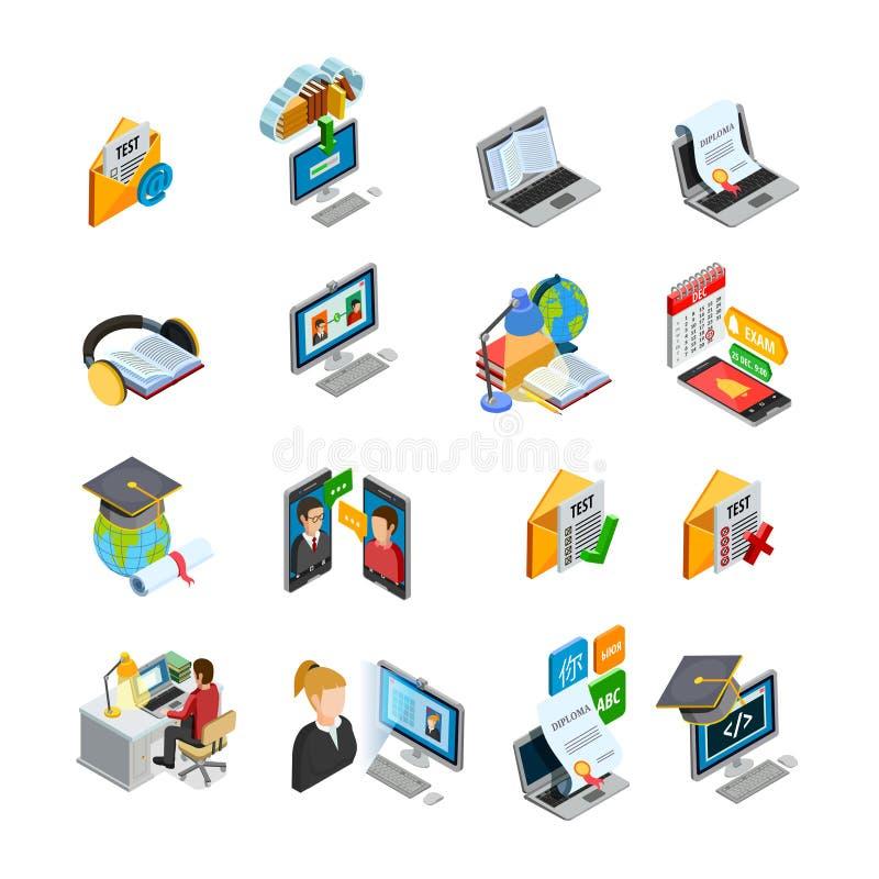 Nauczanie online Isometric ikony Ustawiać ilustracja wektor