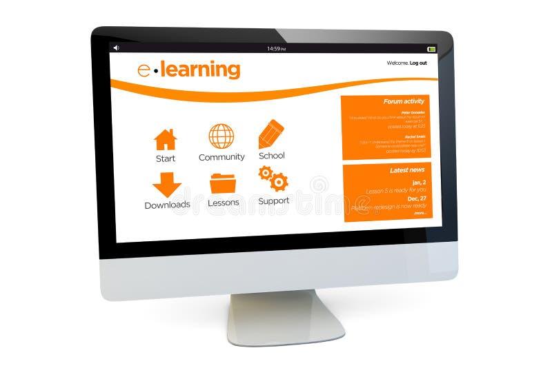 Nauczanie online komputer ilustracja wektor