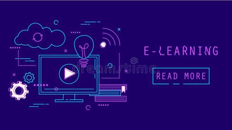 Nauczanie online sieci sztandar Online edukacja i trening ilustracji