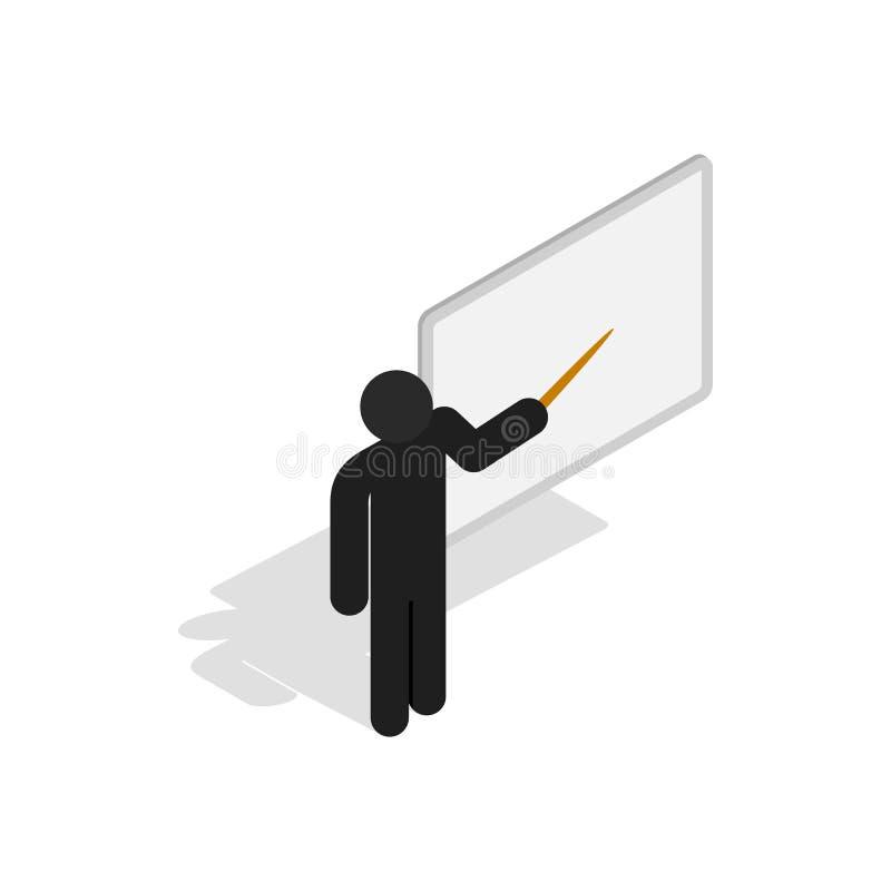 Nauczyciel blisko blackboard z pointer ikoną ilustracji