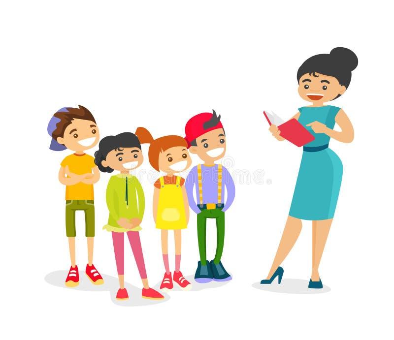Nauczyciel czyta książkę caucasian biali dzieci royalty ilustracja