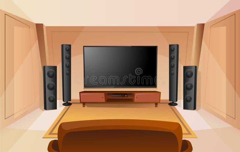 Nauczyciel domowy w kreskówka stylu z dużym TV 3d renderingu pokoju kanapa nowoczesne wn?trze Akustyczny Stereo d?wi?k ilustracja wektor