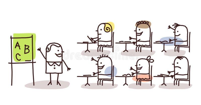 Nauczyciel & dzieciaki przy szkołą royalty ilustracja