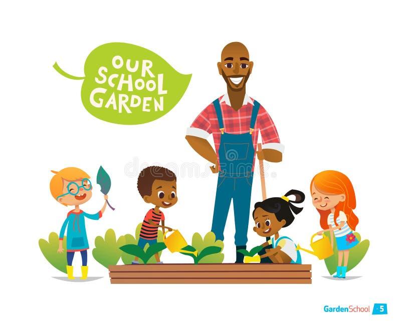 Nauczyciel i dzieciaki angażowaliśmy ogrodnictwo w podwórku Dziewczyny podlewanie kwitnie w ogródzie pojęcia eco pokoju gołębie M ilustracji