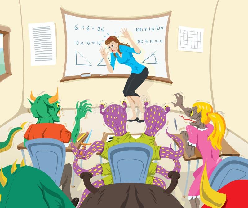 Nauczyciel i mali potwory ilustracji