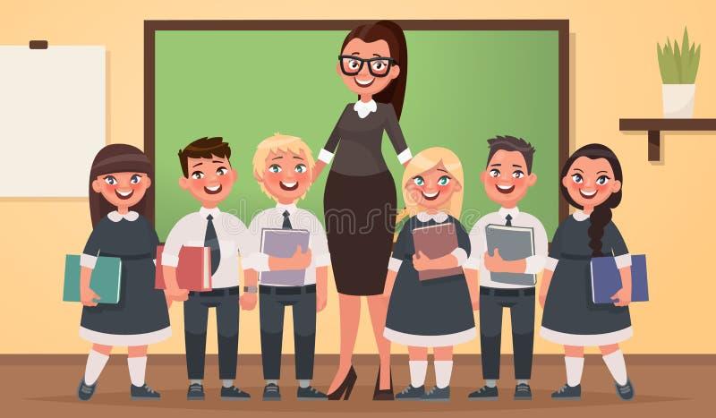 Nauczyciel i ucznie szkoła podstawowa wpólnie w sala lekcyjnej ilustracji