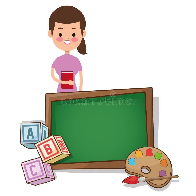 Nauczyciel kobieta z powrotem szkoła z deskowym paleta koloru sześcianem ilustracji
