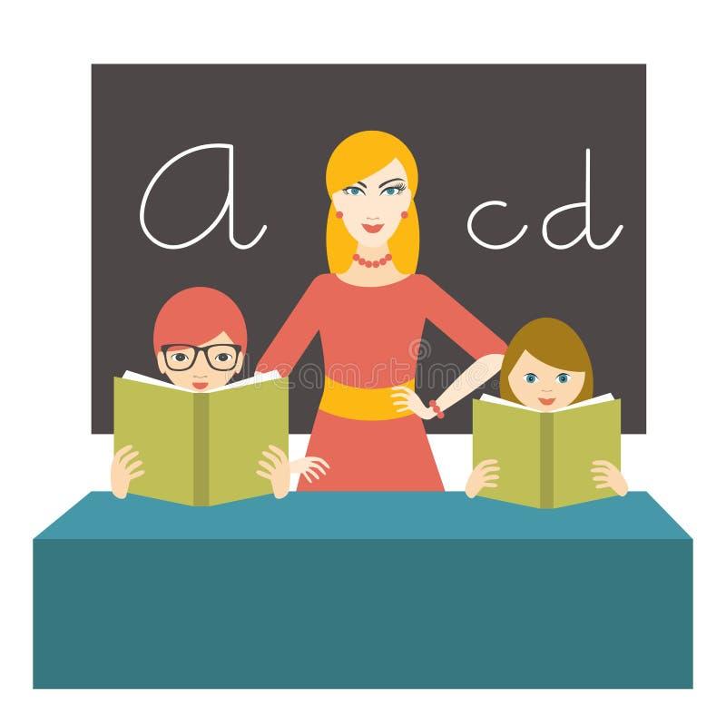 Nauczyciel kobieta z uczni czytać książki w klasowym pokoju ilustracja wektor