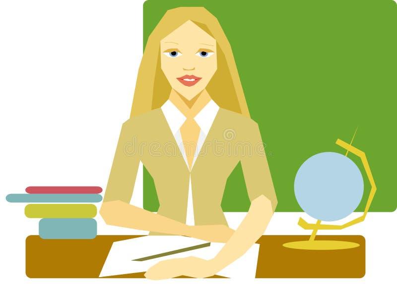 Nauczyciel kobiety blondynka siedzi przy biurkiem w tle blackboard obraz stock