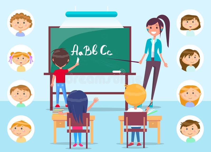 Nauczyciel na lekcji wskazujÄ…cy na tablicy w klasie ilustracji