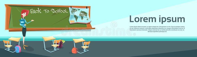Nauczyciel Nad klasy deski sala lekcyjną Z powrotem szkoła sztandar royalty ilustracja