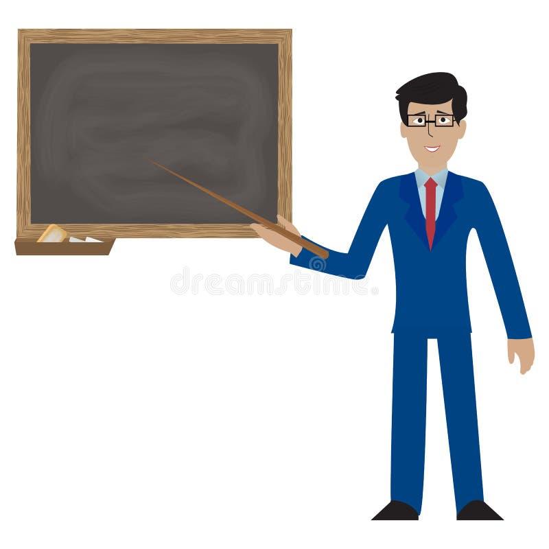 Nauczyciel, profesor pozycja przed puste miejsce szkoły blackboard wektoru ilustracją Nauczyciel w szkłach, samiec royalty ilustracja