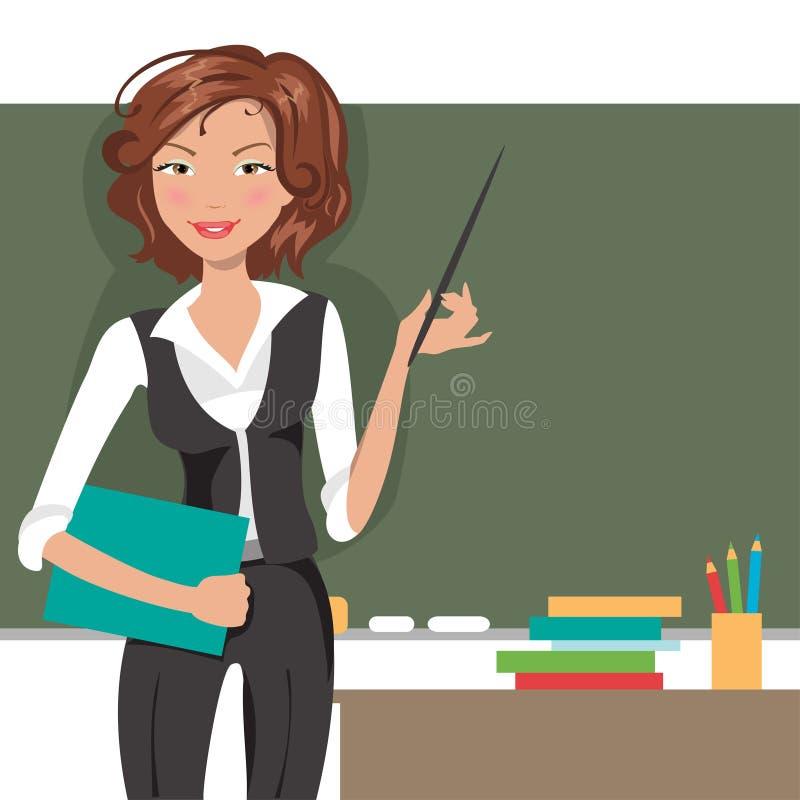 Nauczyciel przy blackboard również zwrócić corel ilustracji wektora royalty ilustracja