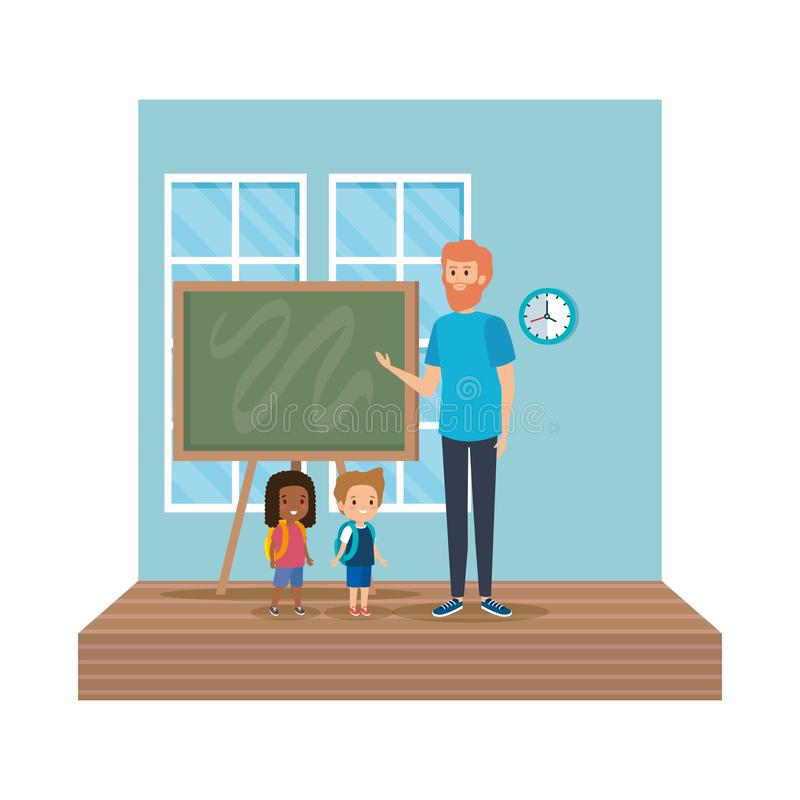 Nauczyciel samiec z szko?a dzieciakami w sali lekcyjnej ilustracja wektor