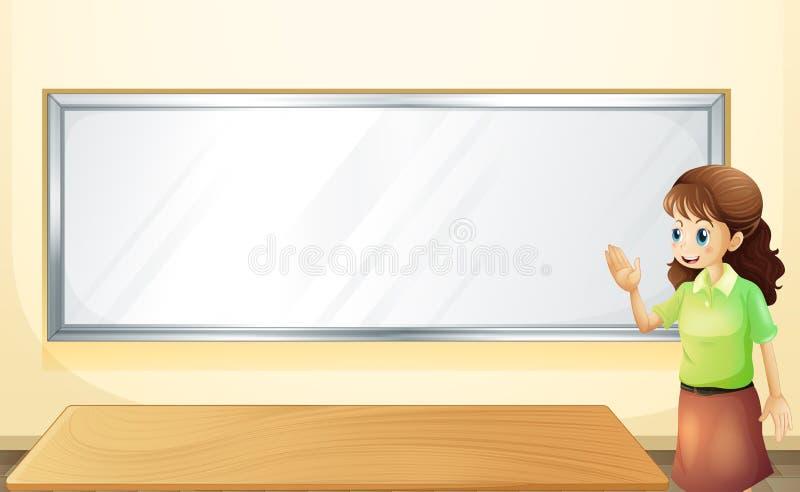 Nauczyciel wśrodku pokoju z pustą tablicą informacyjną ilustracja wektor