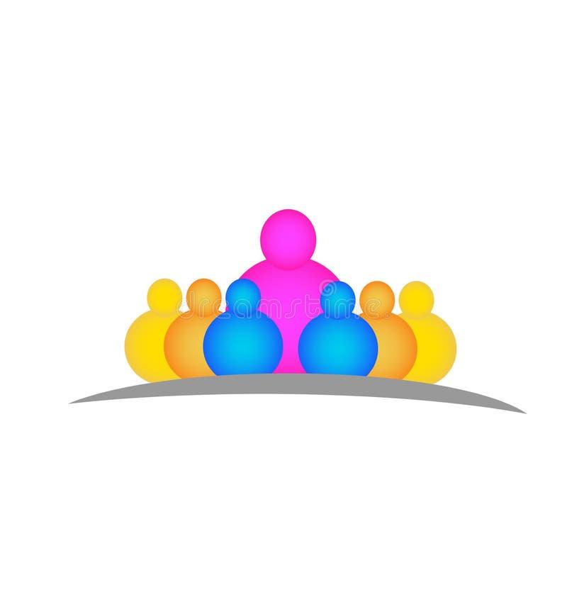 Nauczyciel z dziecko wektoru loga ludźmi royalty ilustracja