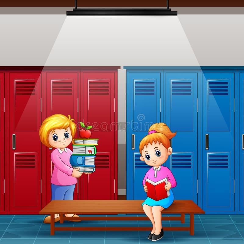 Nauczyciel z dziewczyną czyta książkę w szatni ilustracja wektor