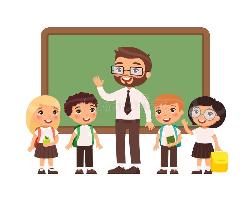 Nauczyciel z uczniami w sali lekcyjnej płaskiej wektorowej ilustracji ilustracji