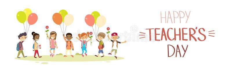 Nauczyciela dnia dziecko w wieku szkolnym grupy chwyt Kwitnie balonu wakacje kartka z pozdrowieniami ilustracja wektor