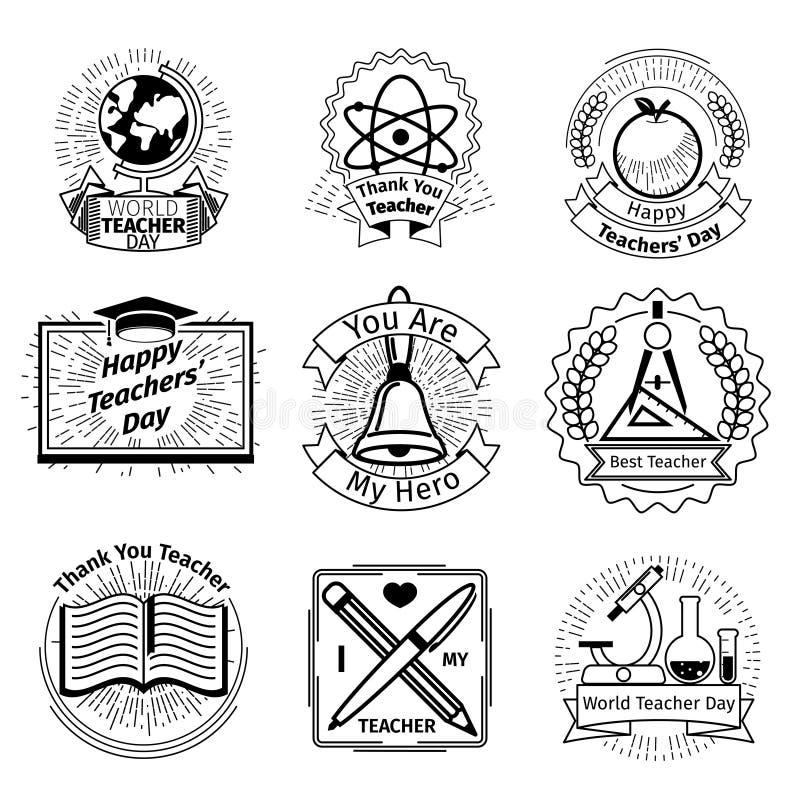 Nauczyciela dnia emblematy ustawiający jabłka książek edukacja odizolowywający szkoły wierza biel ilustracji