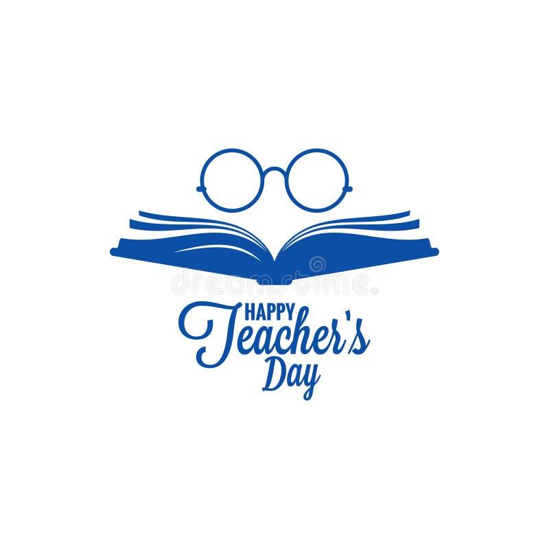 Nauczyciela dnia logo Szkła i książkowa ikona na białym tle