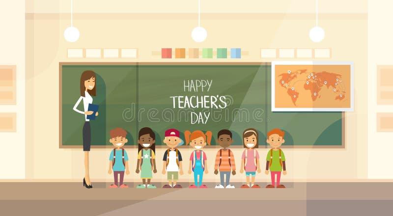 Nauczyciela dnia wakacje klasy dziecko w wieku szkolnym grupa ilustracji