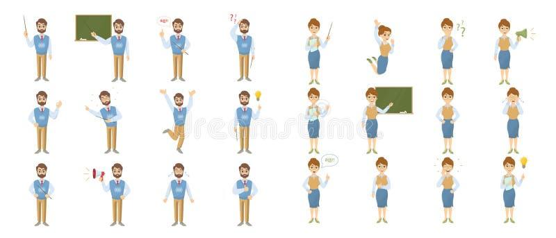 Nauczyciela emoji set ilustracji