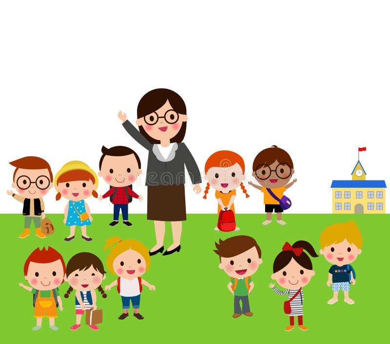 Nauczyciela i szkoły dzieciaki ilustracji