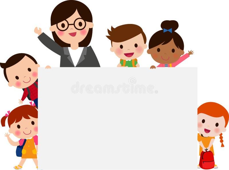 Nauczyciela i szkoły dzieciaki royalty ilustracja