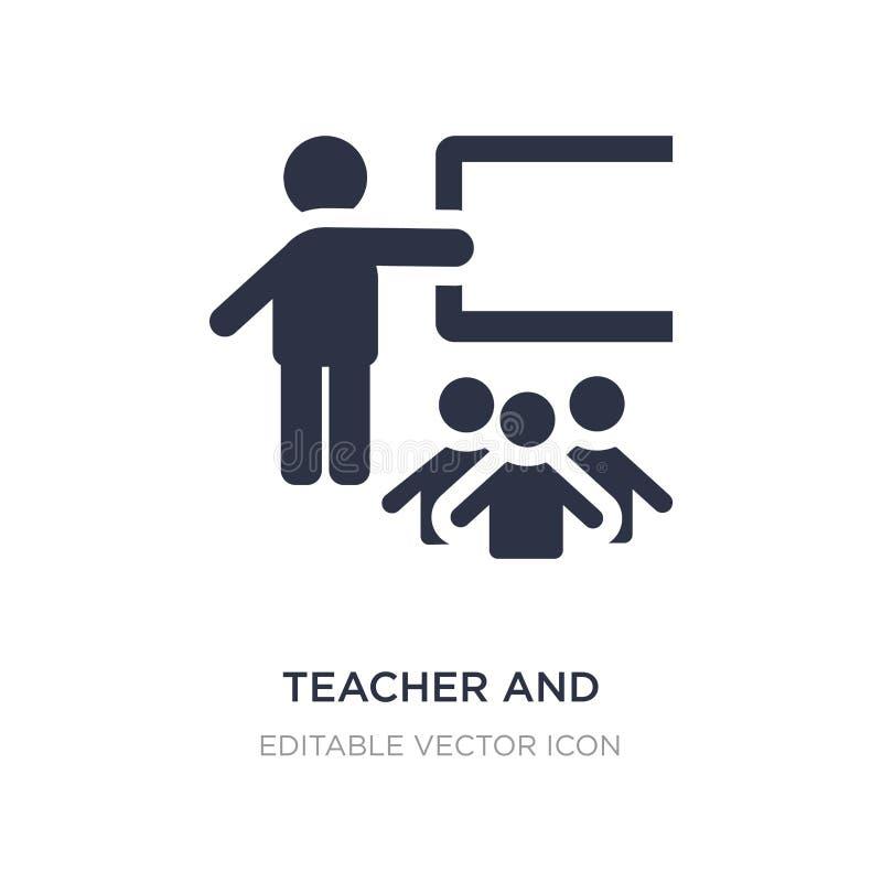 nauczyciela i uczni ikona na białym tle Prosta element ilustracja od ludzi pojęć ilustracja wektor