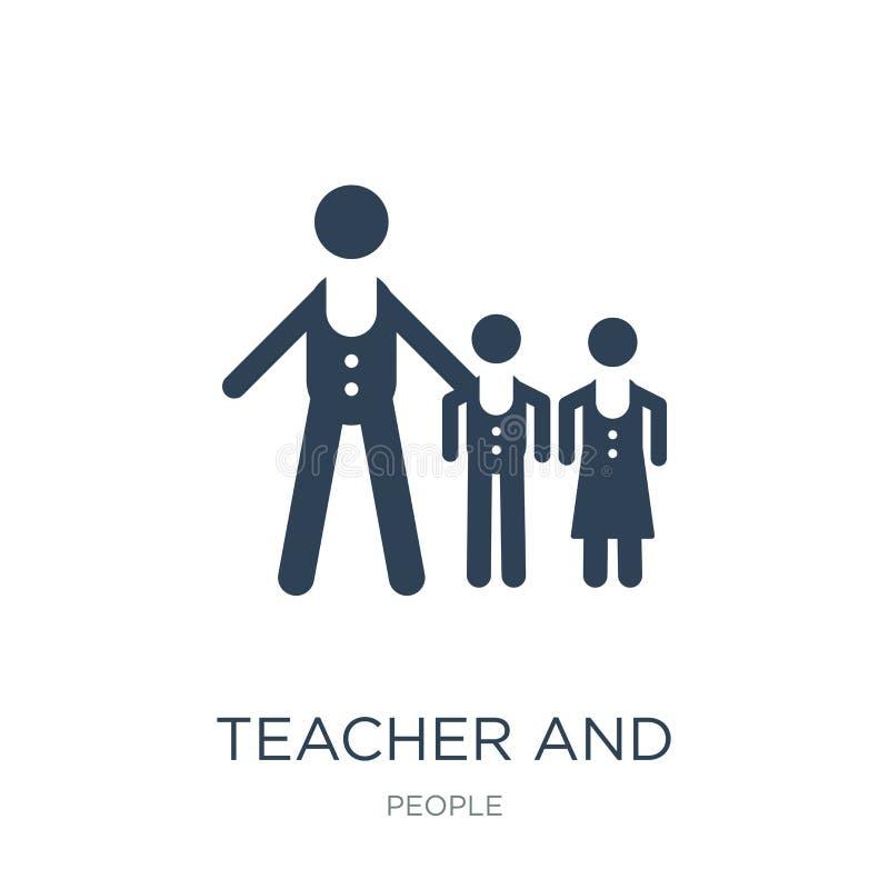 nauczyciela i uczni ikona w modnym projekcie projektuje nauczyciela i uczni ikona odizolowywająca na białym tle Nauczyciel i uczn royalty ilustracja