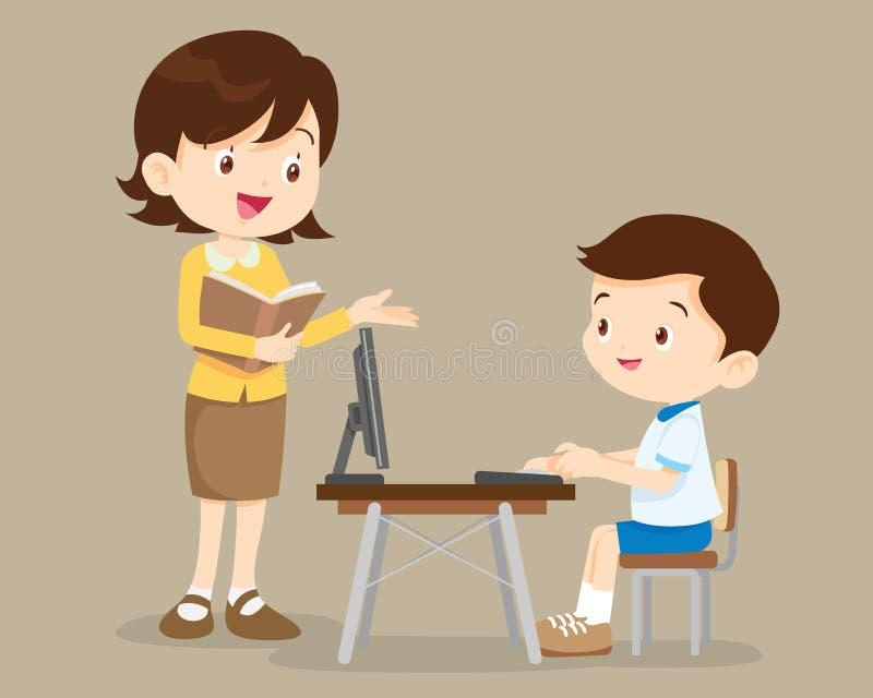 Nauczyciela i ucznia chłopiec uczenie komputer ilustracja wektor