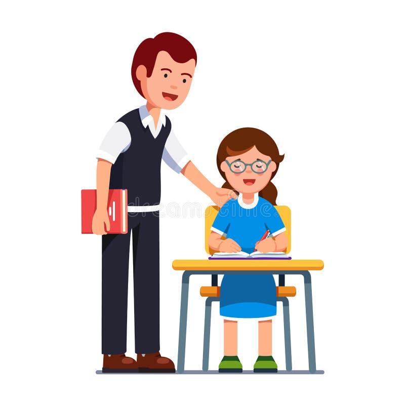 Nauczyciela mężczyzna dopatrywania dziewczyn studencki pisać ilustracja wektor