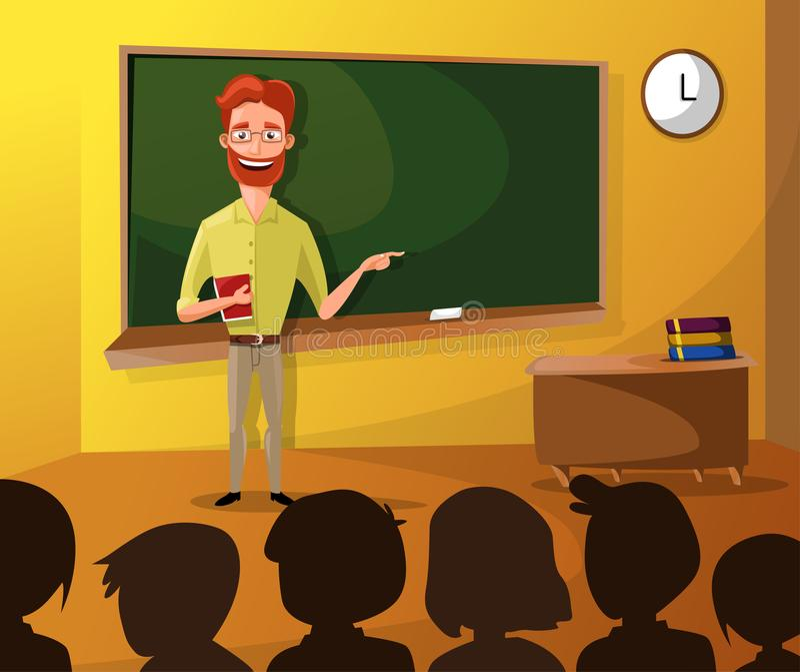 Nauczyciela nauczania ucznie W sala lekcyjnej, światu Książkowy dzień szkoła, Z powrotem, materiały, książka, dzieci, klasa z nau ilustracja wektor