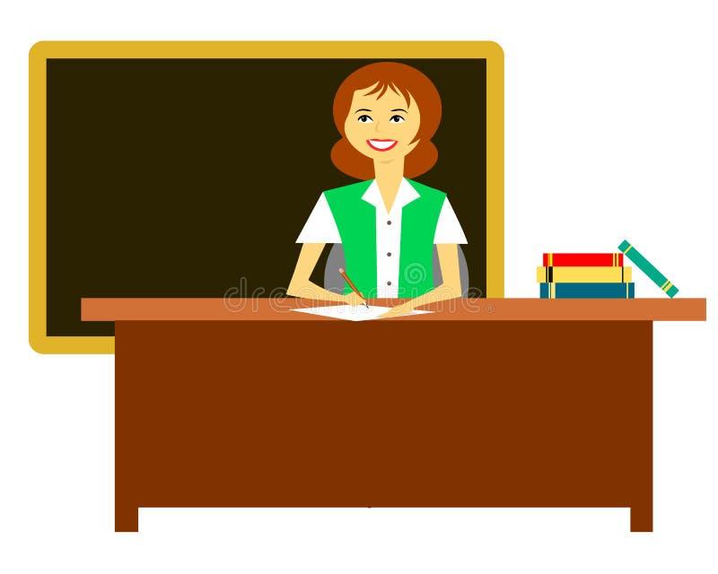 Nauczyciela obsiadanie Przy biurkiem ilustracja wektor