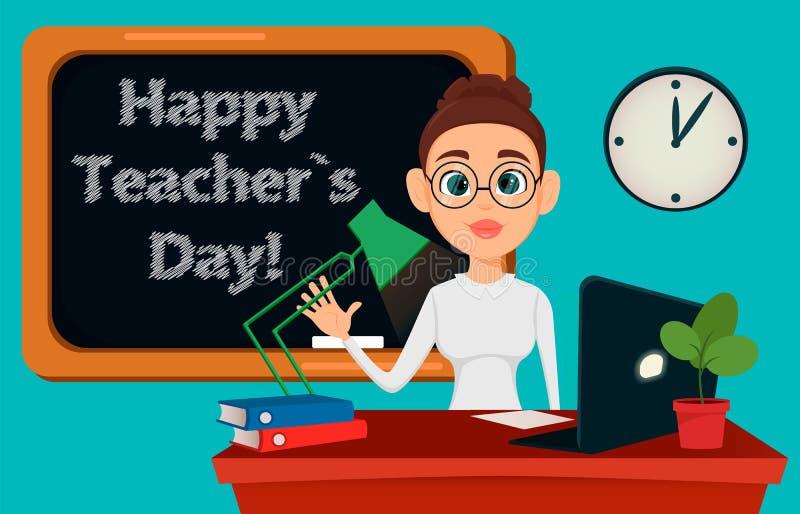 Nauczyciela obsiadanie przy jej biurkiem podczas gdy lekcja w sala lekcyjnej Rozochocony żeński instruktor w szkłach ilustracji