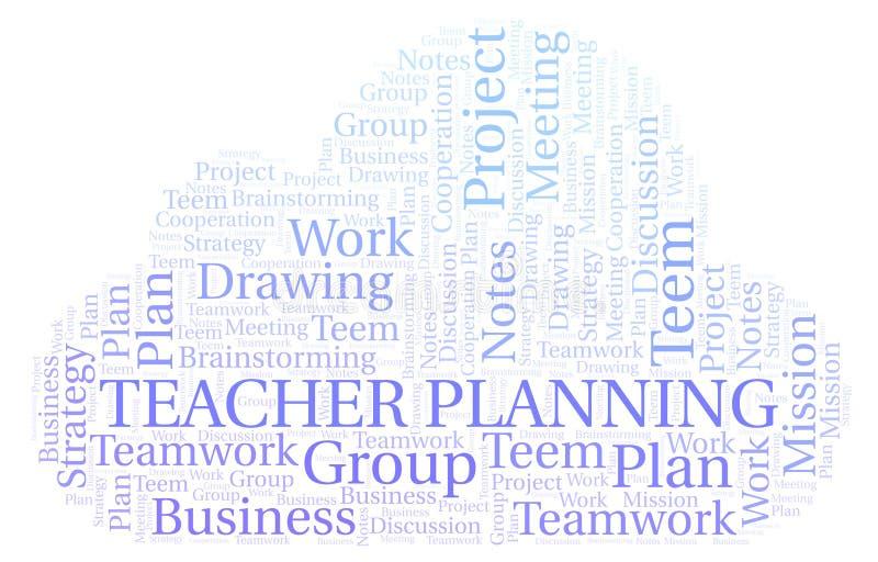 Nauczyciela planowania słowa chmura ilustracji