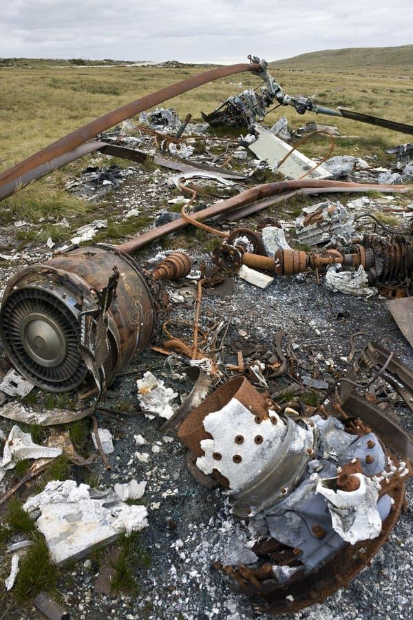 Naufrágio de um helicóptero de Argentina - Malvinas imagem de stock