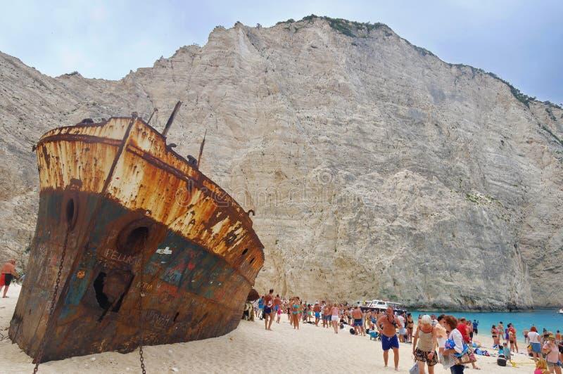 Naufrágio na praia de Navagio imagem de stock royalty free