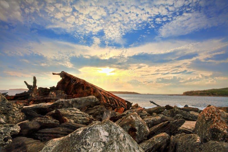 Naufrágio oxidado na baía Sydney Australia da Botânica fotos de stock